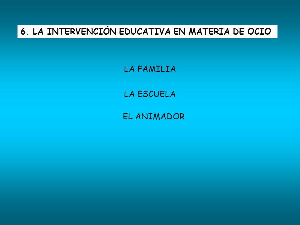 6. LA INTERVENCIÓN EDUCATIVA EN MATERIA DE OCIO LA FAMILIA LA ESCUELA EL ANIMADOR