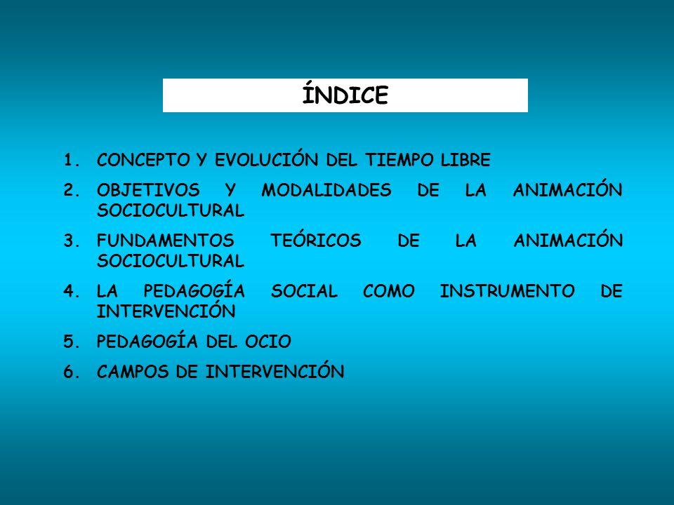 ÍNDICE 1.CONCEPTO Y EVOLUCIÓN DEL TIEMPO LIBRE 2.OBJETIVOS Y MODALIDADES DE LA ANIMACIÓN SOCIOCULTURAL 3.FUNDAMENTOS TEÓRICOS DE LA ANIMACIÓN SOCIOCUL