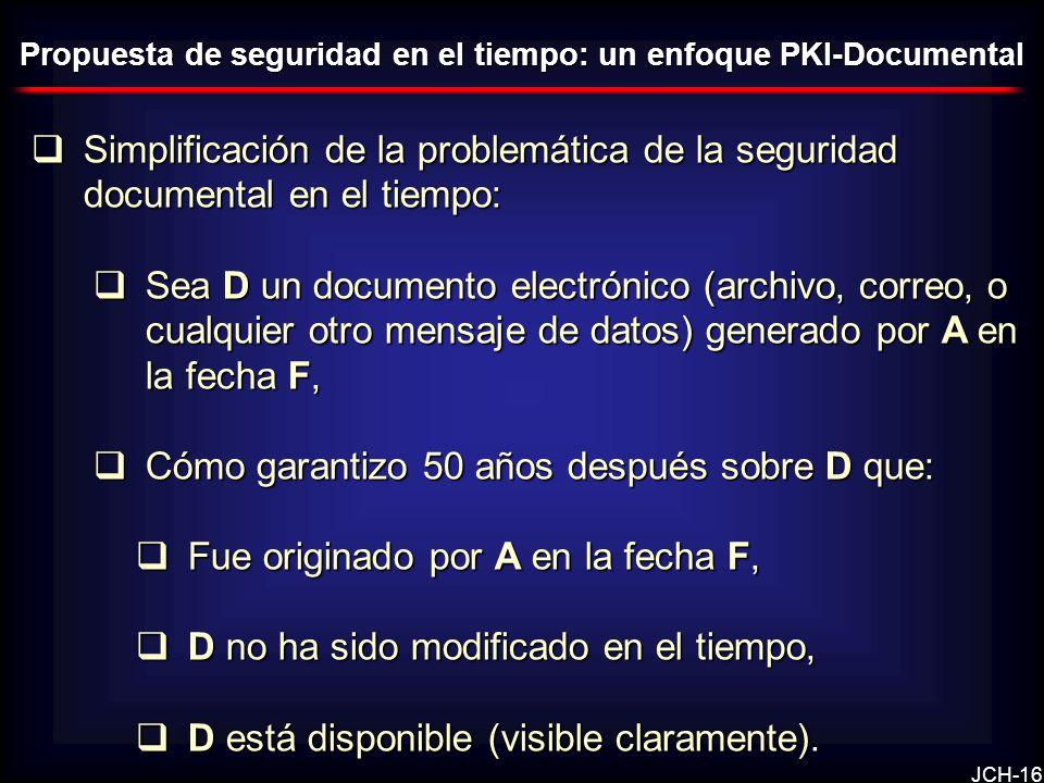 JCH-16 Simplificación de la problemática de la seguridad documental en el tiempo: Simplificación de la problemática de la seguridad documental en el tiempo: Sea D un documento electrónico (archivo, correo, o cualquier otro mensaje de datos) generado por A en la fecha F, Sea D un documento electrónico (archivo, correo, o cualquier otro mensaje de datos) generado por A en la fecha F, Cómo garantizo 50 años después sobre D que: Cómo garantizo 50 años después sobre D que: Fue originado por A en la fecha F, Fue originado por A en la fecha F, D no ha sido modificado en el tiempo, D no ha sido modificado en el tiempo, D está disponible (visible claramente).