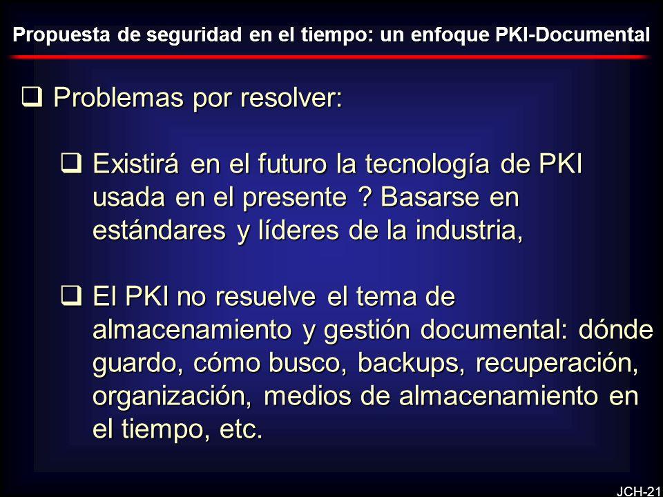 JCH-21 Problemas por resolver: Problemas por resolver: Existirá en el futuro la tecnología de PKI usada en el presente ? Basarse en estándares y líder