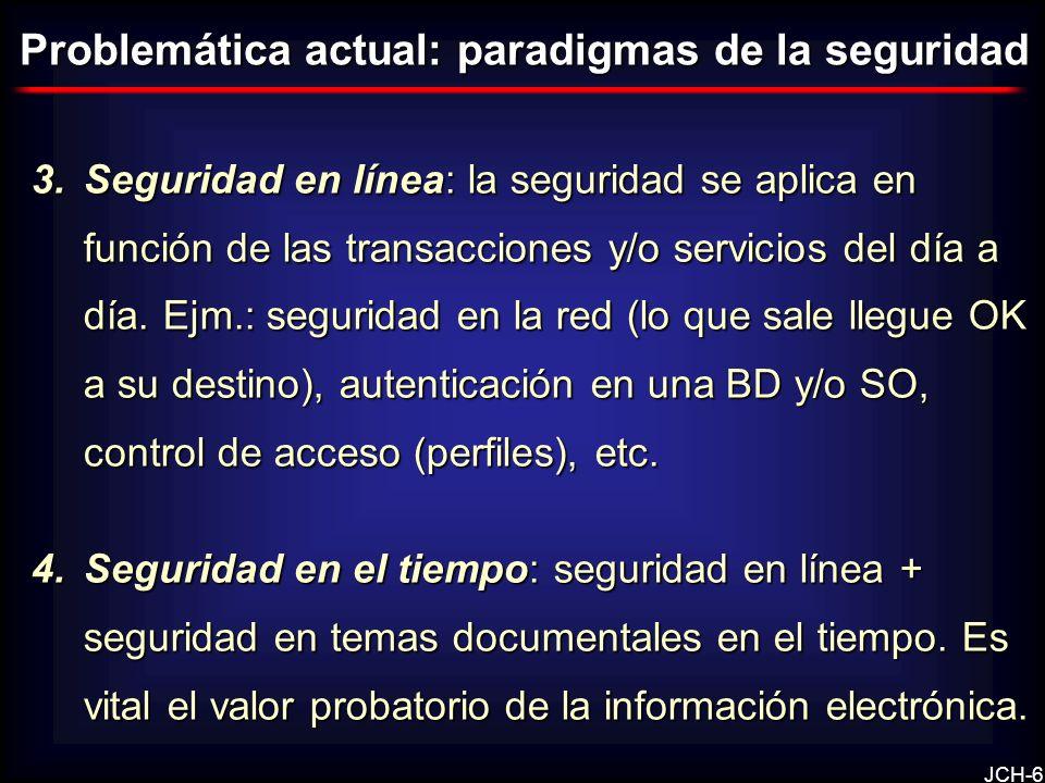 JCH-6 3.Seguridad en línea: la seguridad se aplica en función de las transacciones y/o servicios del día a día. Ejm.: seguridad en la red (lo que sale