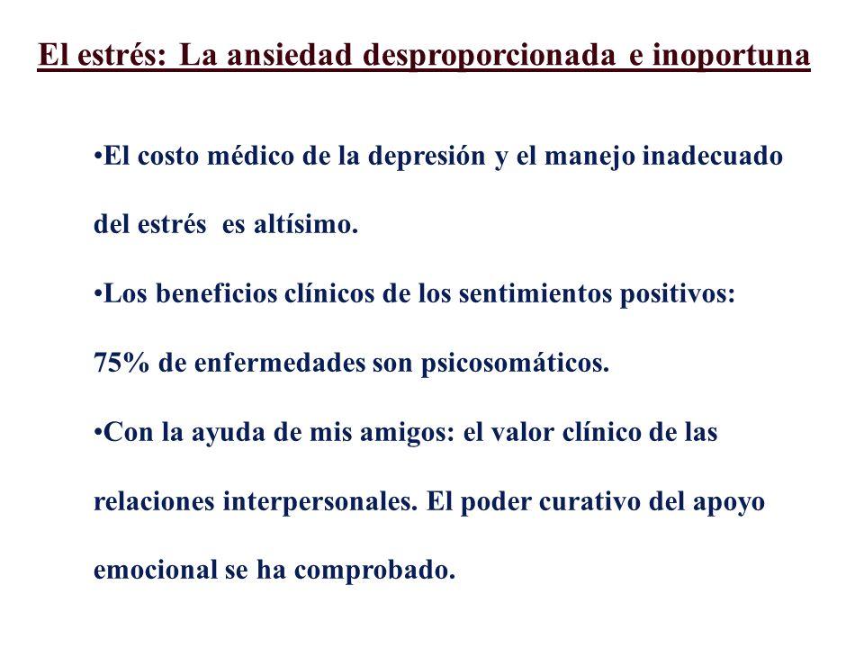 El estrés: La ansiedad desproporcionada e inoportuna El costo médico de la depresión y el manejo inadecuado del estrés es altísimo.