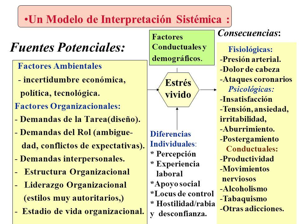 Un Modelo de Interpretación Sistémica : Fuentes Potenciales: Factores Ambientales - incertidumbre económica, política, tecnológica.