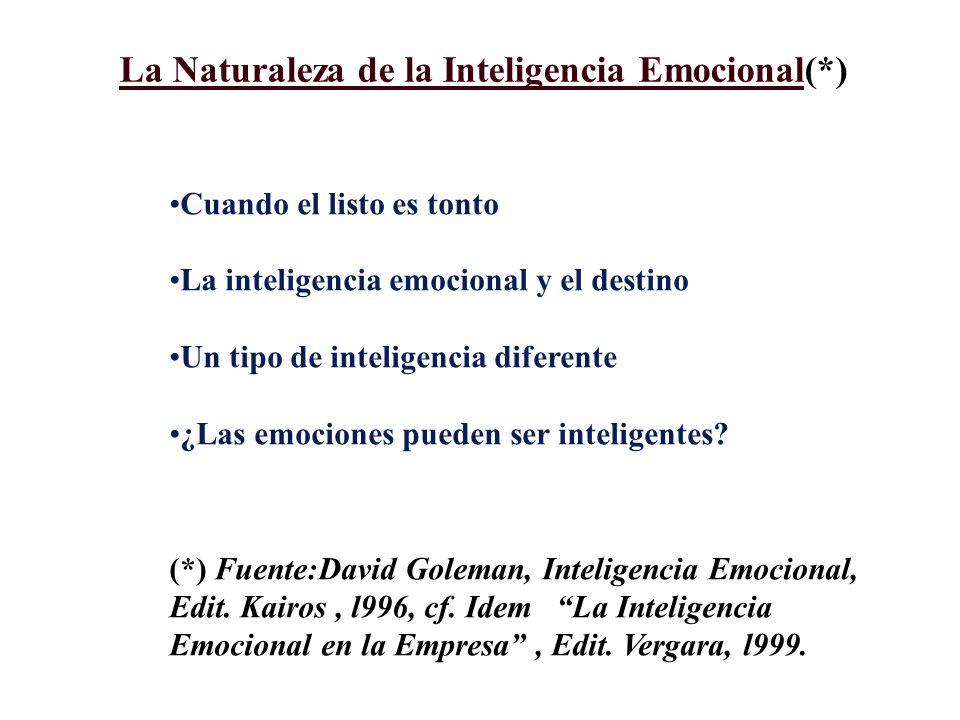 La Naturaleza de la Inteligencia Emocional(*) Cuando el listo es tonto La inteligencia emocional y el destino Un tipo de inteligencia diferente ¿Las emociones pueden ser inteligentes.