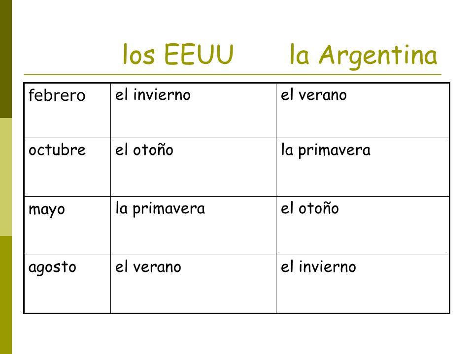 ¿Cuál es la estación en los Estados Unidos? Es (el) otoño. ¿Cuál es la estación en (la) Argentina? Es (la) primavera.
