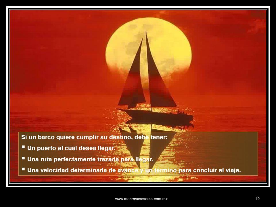 www.monroyasesores.com.mx10 Si un barco quiere cumplir su destino, debe tener: Un puerto al cual desea llegar.