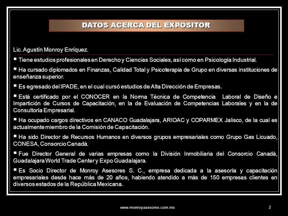 www.monroyasesores.com.mx2 DATOS ACERCA DEL EXPOSITOR Lic.