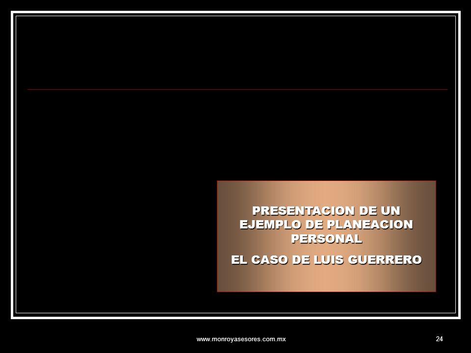 www.monroyasesores.com.mx24 PRESENTACION DE UN EJEMPLO DE PLANEACION PERSONAL EL CASO DE LUIS GUERRERO
