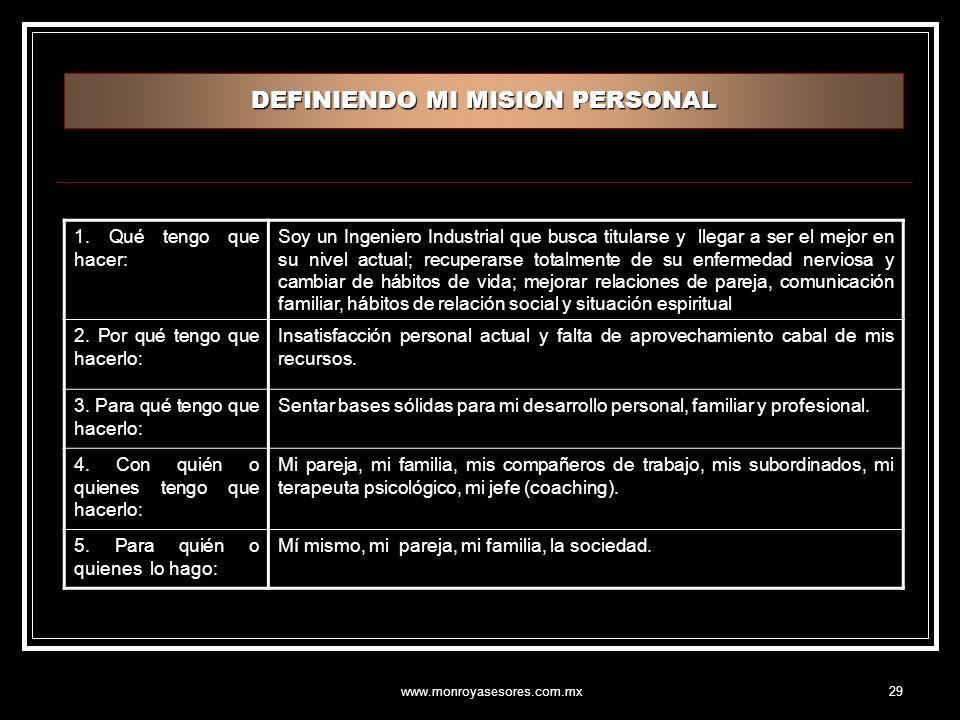www.monroyasesores.com.mx29 DEFINIENDO MI MISION PERSONAL 1.