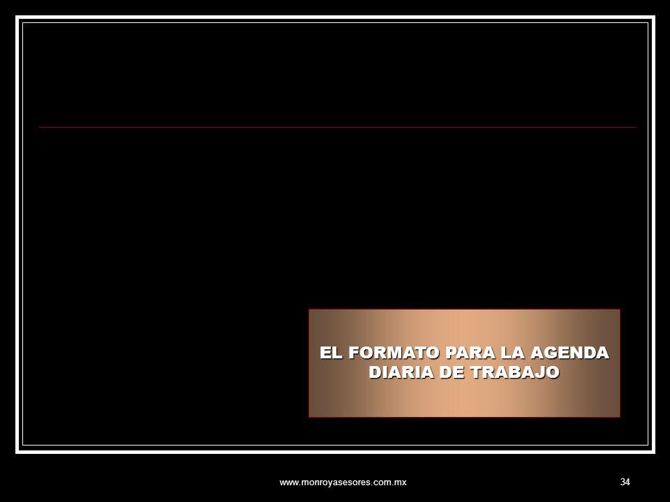 www.monroyasesores.com.mx34 EL FORMATO PARA LA AGENDA DIARIA DE TRABAJO