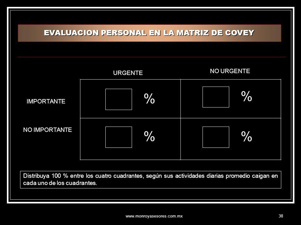 www.monroyasesores.com.mx38 EVALUACION PERSONAL EN LA MATRIZ DE COVEY URGENTE NO URGENTE IMPORTANTE NO IMPORTANTE Distribuya 100 % entre los cuatro cuadrantes, según sus actividades diarias promedio caigan en cada uno de los cuadrantes.