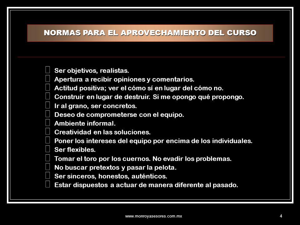www.monroyasesores.com.mx45 CAUSAS DE PERDIDA DE TIEMPO POR FALTA DE COMUNICACION No.CONCEPTO NORMALDEFICIENTEMUY DEFICIENTE 1.Existe control sobre la socialización excesiva.