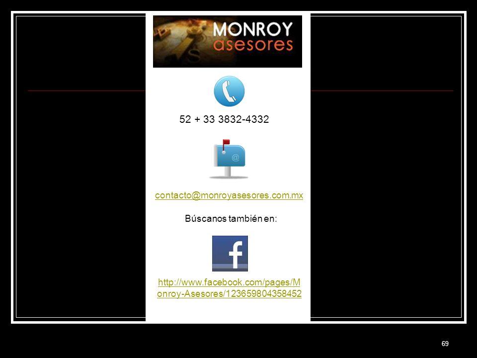69 52 + 33 3832-4332 contacto@monroyasesores.com.mx Búscanos también en: http://www.facebook.com/pages/M onroy-Asesores/123659804358452