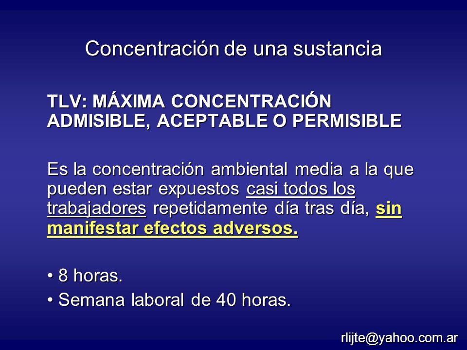 TLV: MÁXIMA CONCENTRACIÓN ADMISIBLE, ACEPTABLE O PERMISIBLE Es la concentración ambiental media a la que pueden estar expuestos casi todos los trabaja