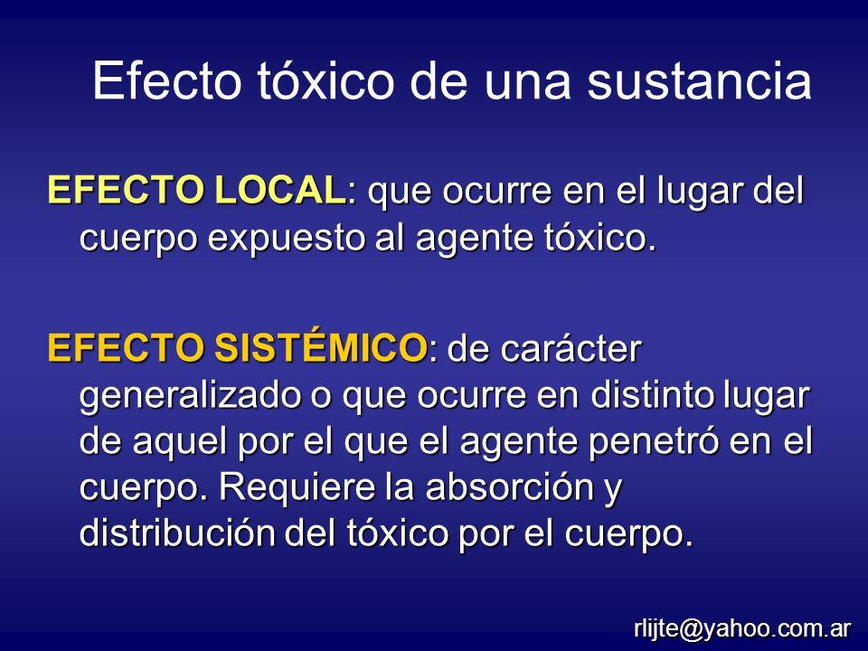Efecto tóxico de una sustancia EFECTO LOCAL: que ocurre en el lugar del cuerpo expuesto al agente tóxico. EFECTO SISTÉMICO: de carácter generalizado o