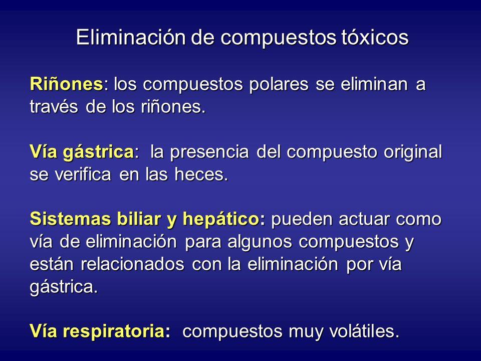 Eliminación de compuestos tóxicos Riñones: los compuestos polares se eliminan a través de los riñones. Vía gástrica: la presencia del compuesto origin