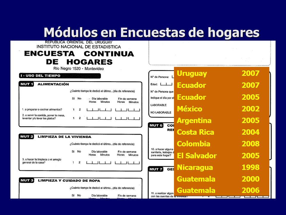 Módulos en Encuestas de hogares Uruguay2007 Ecuador2007 Ecuador2005 México2002 Argentina2005 Costa Rica2004 Colombia2008 El Salvador2005 Nicaragua1998 Guatemala2000 Guatemala2006