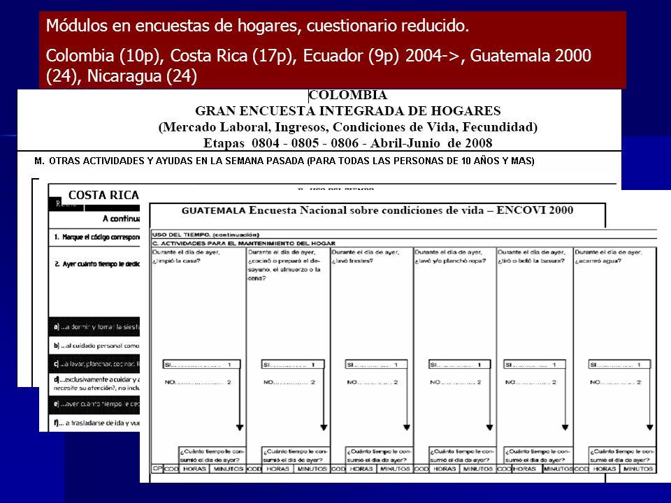 Módulos en encuestas de hogares, cuestionario reducido. Colombia (10p), Costa Rica (17p), Ecuador (9p) 2004->, Guatemala 2000 (24), Nicaragua (24) COS