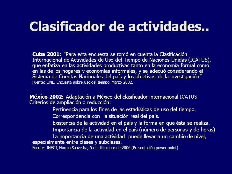 Clasificador de actividades.. Cuba 2001: Para esta encuesta se tomó en cuenta la Clasificación Internacional de Actividades de Uso del Tiempo de Nacio