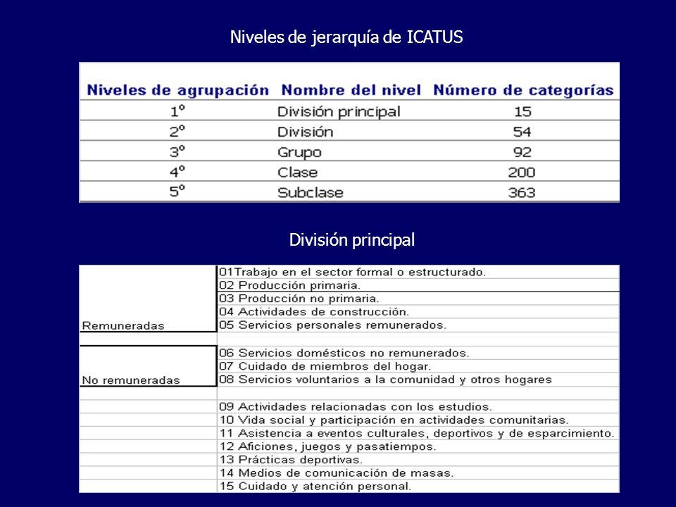 Niveles de jerarquía de ICATUS División principal