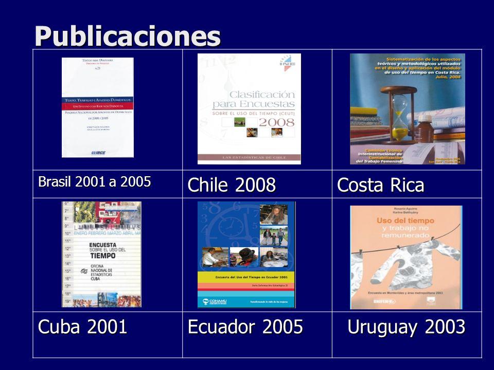 Publicaciones Brasil 2001 a 2005 Chile 2008 Costa Rica Cuba 2001 Ecuador 2005 Uruguay 2003