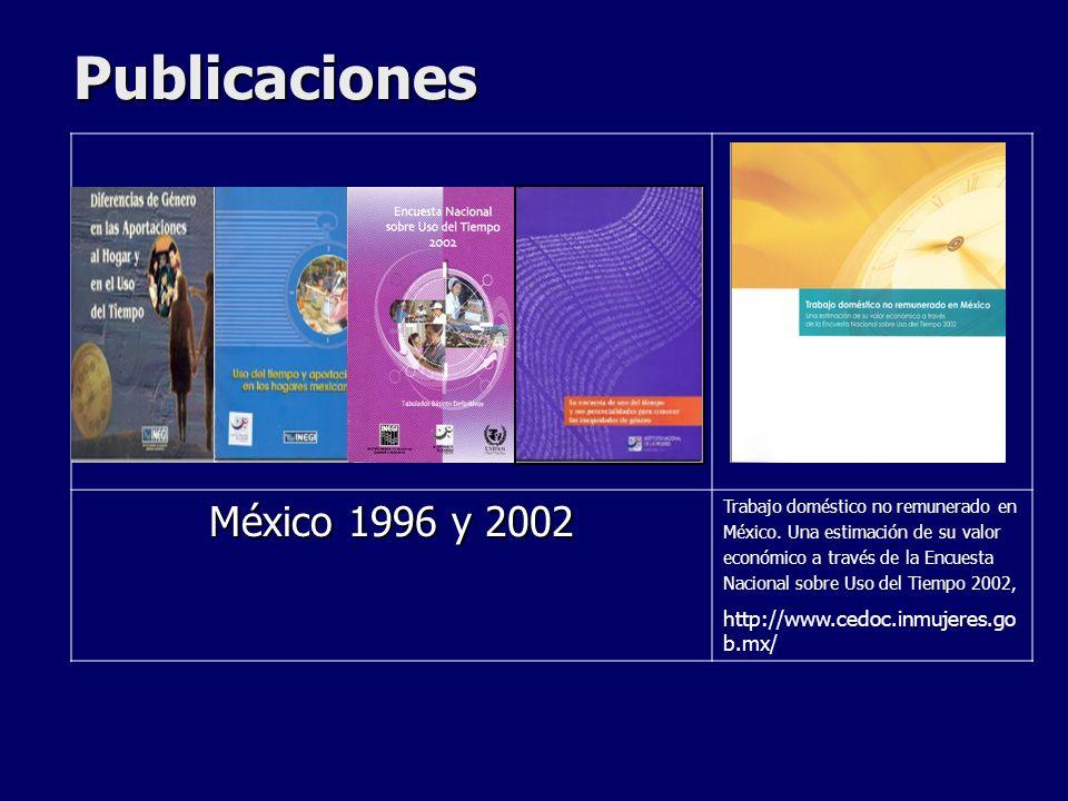 Publicaciones México 1996 y 2002 Trabajo doméstico no remunerado en México. Una estimación de su valor económico a través de la Encuesta Nacional sobr