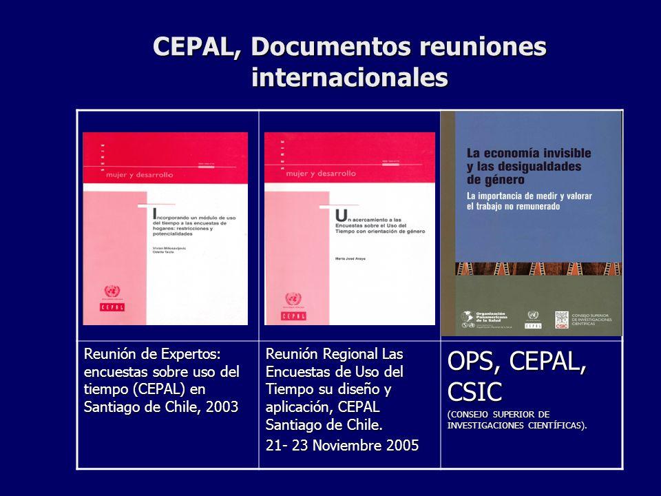CEPAL, Documentos reuniones internacionales Reunión de Expertos: encuestas sobre uso del tiempo (CEPAL) en Santiago de Chile, 2003 Reunión Regional Las Encuestas de Uso del Tiempo su diseño y aplicación, CEPAL Santiago de Chile.