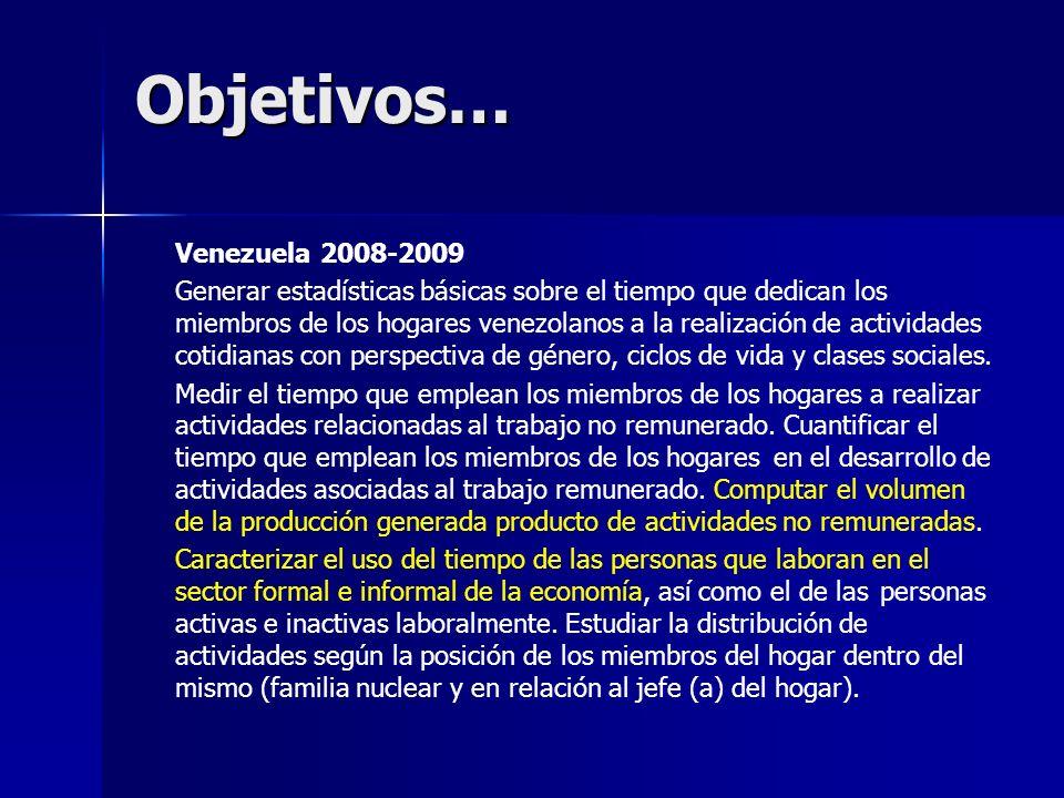 Objetivos… Venezuela 2008-2009 Generar estadísticas básicas sobre el tiempo que dedican los miembros de los hogares venezolanos a la realización de actividades cotidianas con perspectiva de género, ciclos de vida y clases sociales.