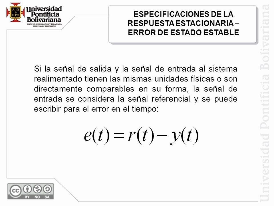 Si la señal de salida y la señal de entrada al sistema realimentado tienen las mismas unidades físicas o son directamente comparables en su forma, la