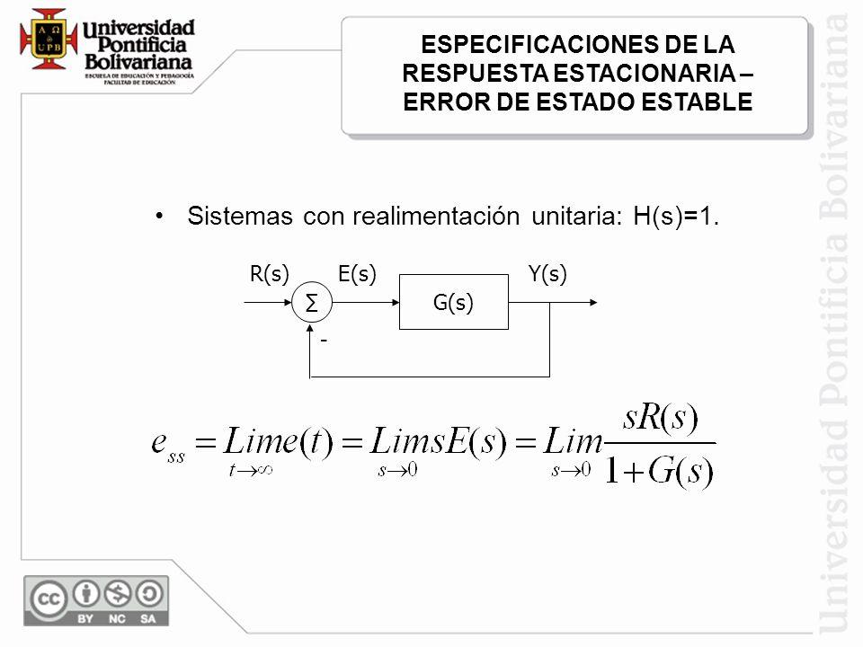 Sistemas con realimentación unitaria: H(s)=1. G(s) - R(s)E(s)Y(s) ESPECIFICACIONES DE LA RESPUESTA ESTACIONARIA – ERROR DE ESTADO ESTABLE
