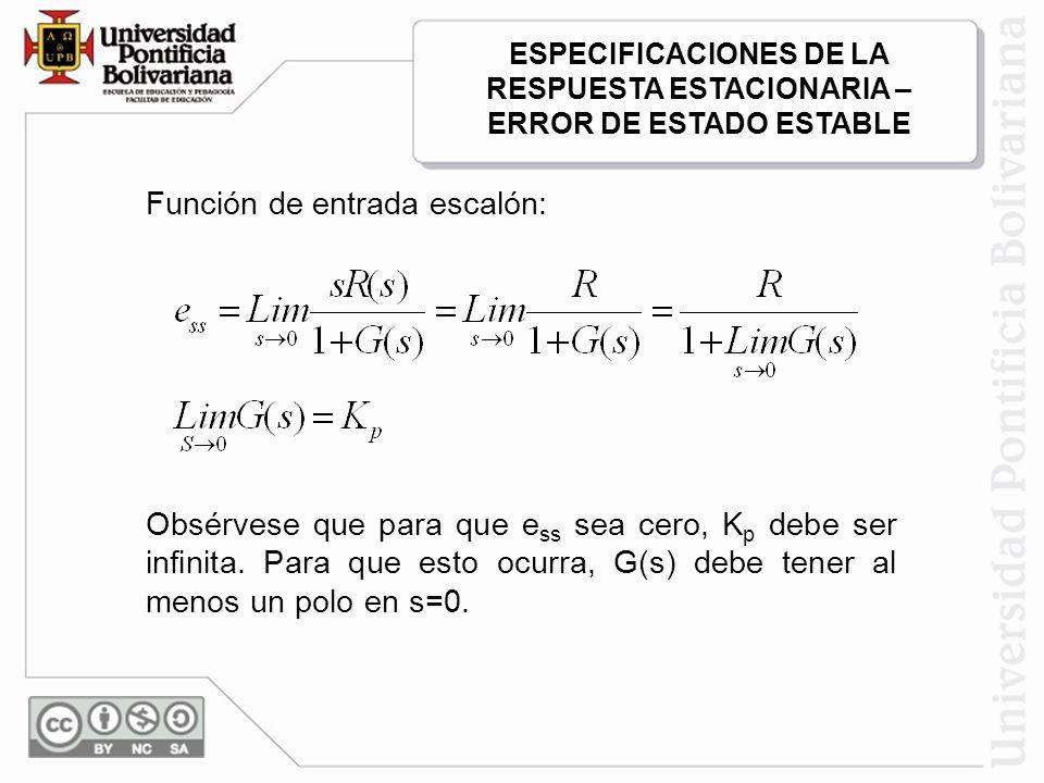 Función de entrada escalón: Obsérvese que para que e ss sea cero, K p debe ser infinita. Para que esto ocurra, G(s) debe tener al menos un polo en s=0