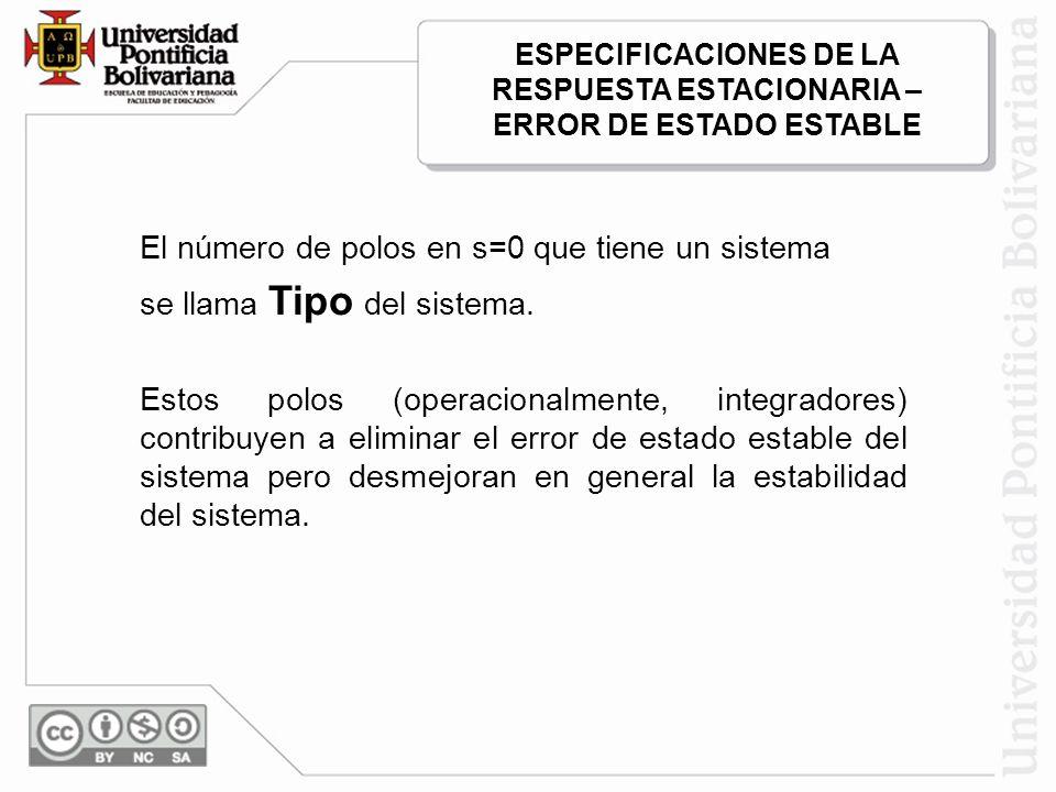 El número de polos en s=0 que tiene un sistema se llama Tipo del sistema. Estos polos (operacionalmente, integradores) contribuyen a eliminar el error