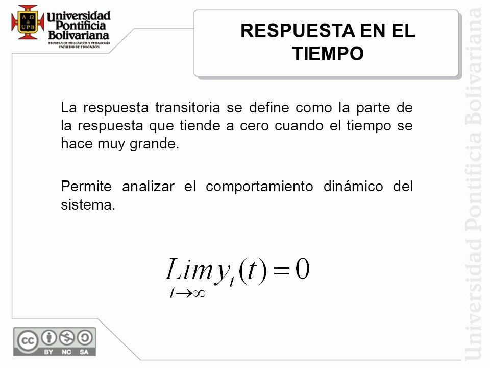 La respuesta transitoria se define como la parte de la respuesta que tiende a cero cuando el tiempo se hace muy grande. Permite analizar el comportami