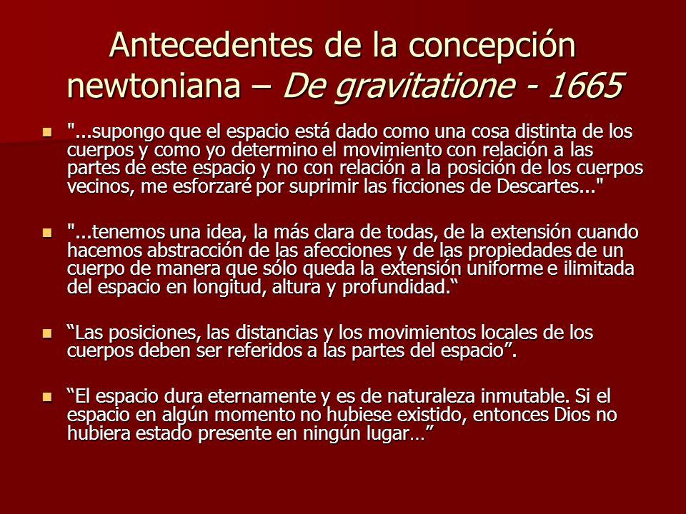 Antecedentes de la concepción newtoniana – De gravitatione - 1665