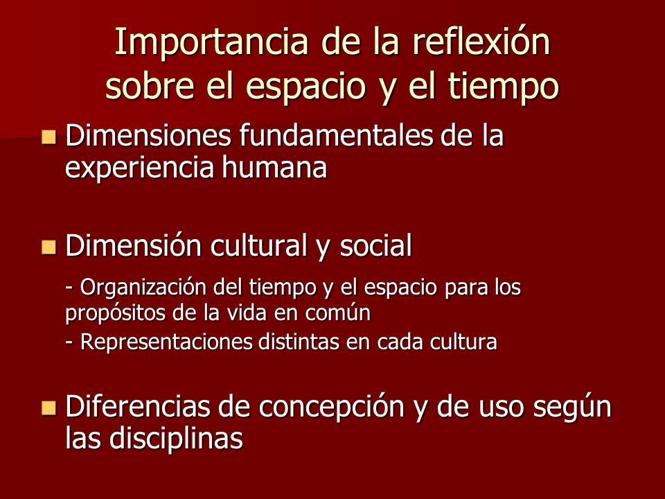 Importancia de la reflexión sobre el espacio y el tiempo Dimensiones fundamentales de la experiencia humana Dimensiones fundamentales de la experienci