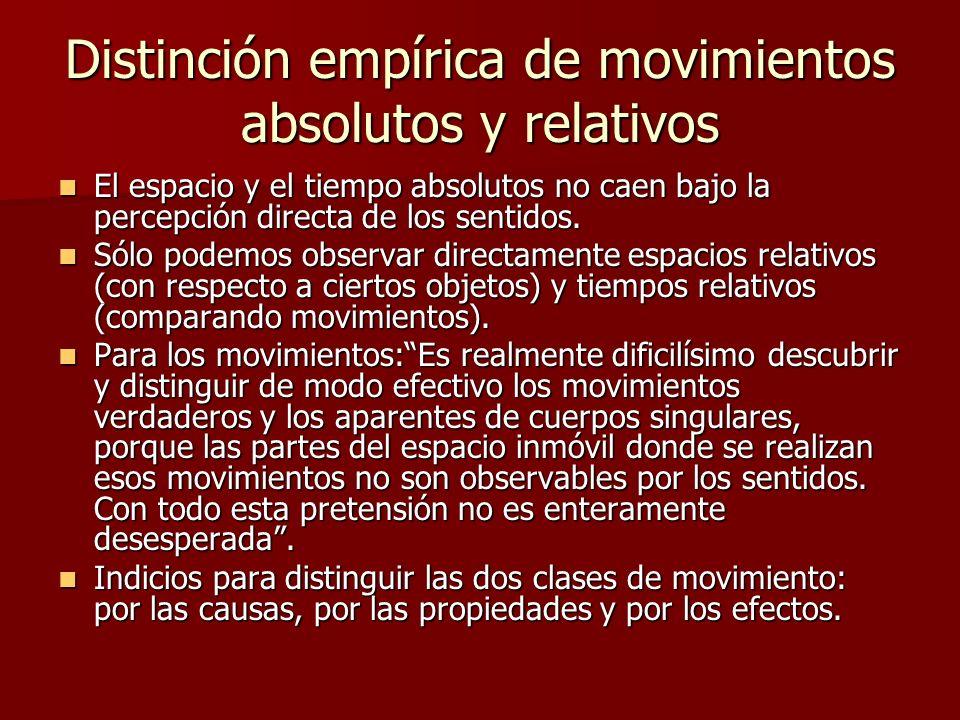 Distinción empírica de movimientos absolutos y relativos El espacio y el tiempo absolutos no caen bajo la percepción directa de los sentidos. El espac