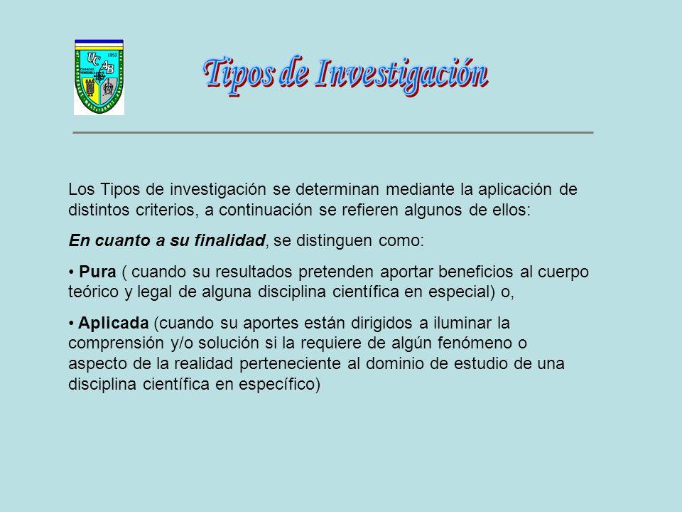 Los Tipos de investigación se determinan mediante la aplicación de distintos criterios, a continuación se refieren algunos de ellos: En cuanto a su fi