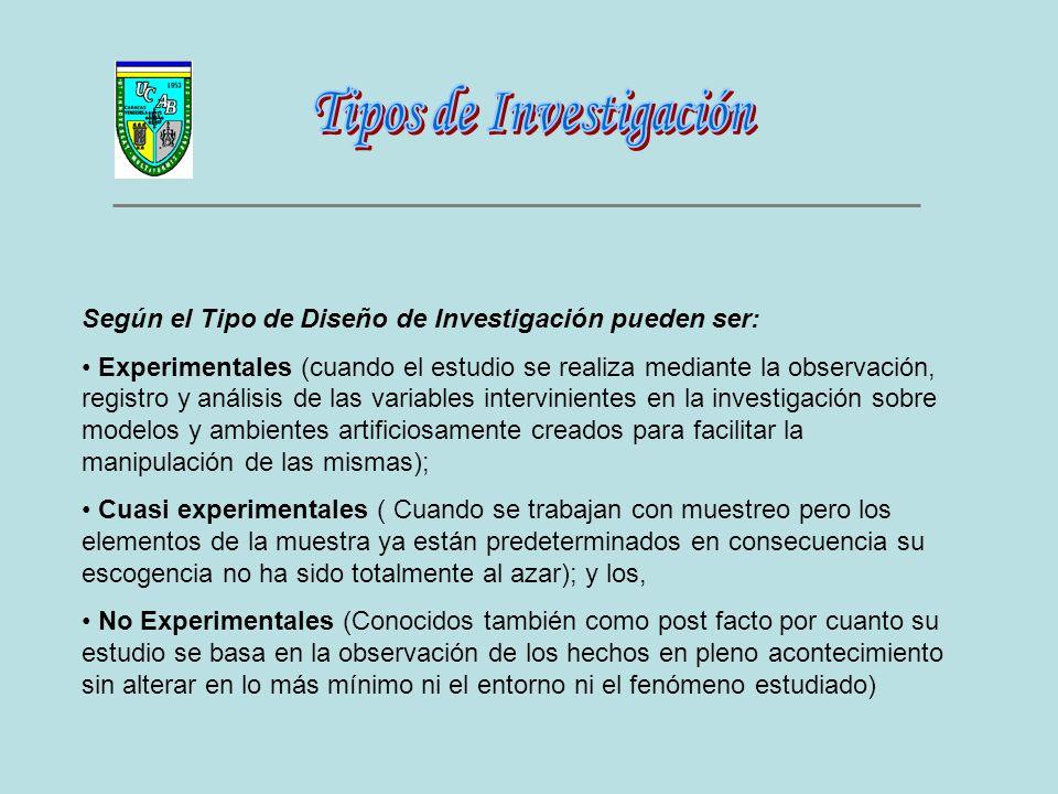 Según el Tipo de Diseño de Investigación pueden ser: Experimentales (cuando el estudio se realiza mediante la observación, registro y análisis de las