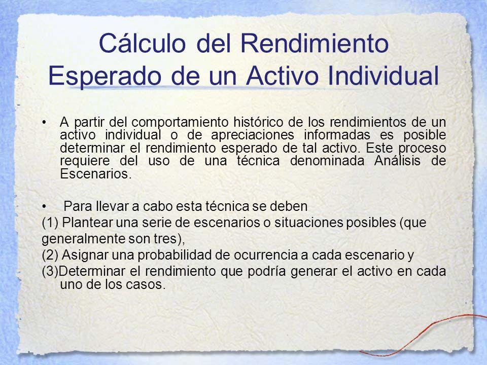 Cálculo del Rendimiento Esperado de un Activo Individual A partir del comportamiento histórico de los rendimientos de un activo individual o de apreci