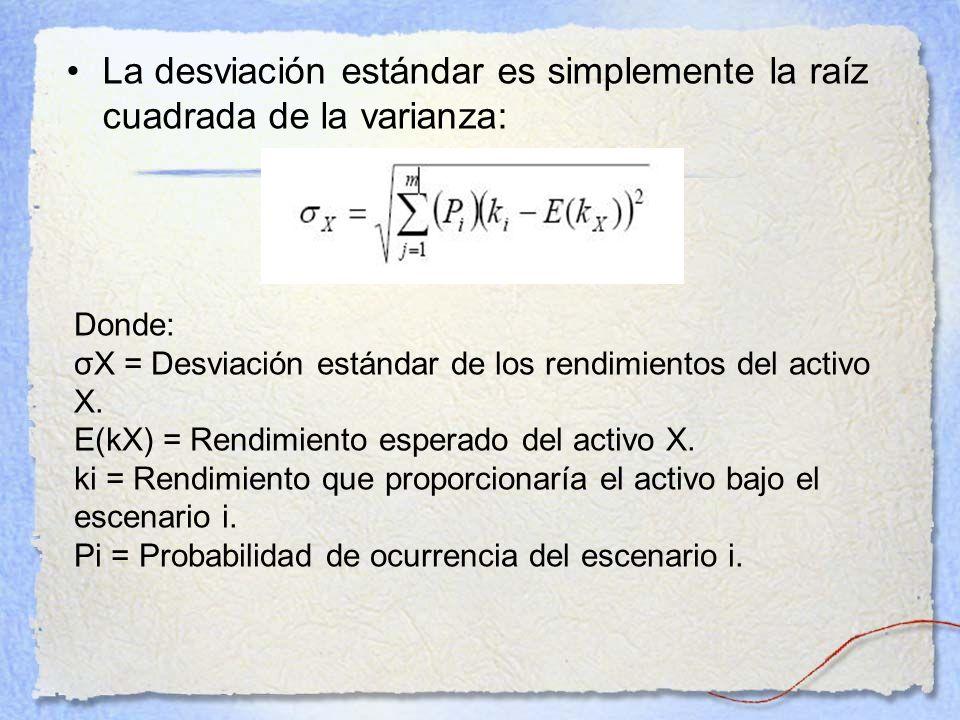 La desviación estándar es simplemente la raíz cuadrada de la varianza: Donde: σX = Desviación estándar de los rendimientos del activo X. E(kX) = Rendi