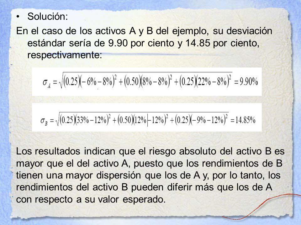 Solución: En el caso de los activos A y B del ejemplo, su desviación estándar sería de 9.90 por ciento y 14.85 por ciento, respectivamente: Los result