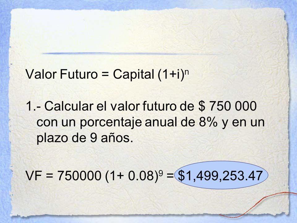 Valor Futuro = Capital (1+i) n 1.- Calcular el valor futuro de $ 750 000 con un porcentaje anual de 8% y en un plazo de 9 años. VF = 750000 (1+ 0.08)
