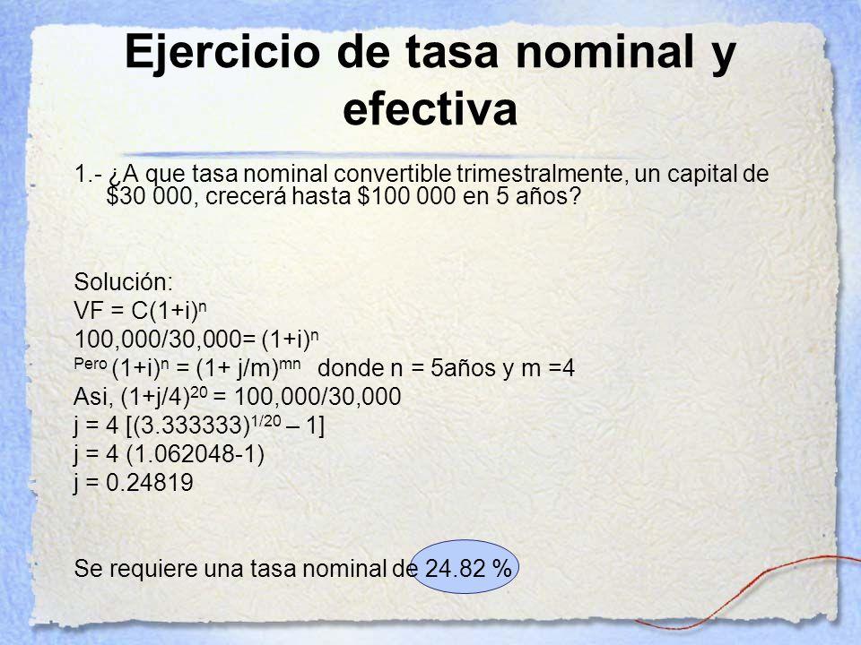 Ejercicio de tasa nominal y efectiva 1.- ¿A que tasa nominal convertible trimestralmente, un capital de $30 000, crecerá hasta $100 000 en 5 años? Sol