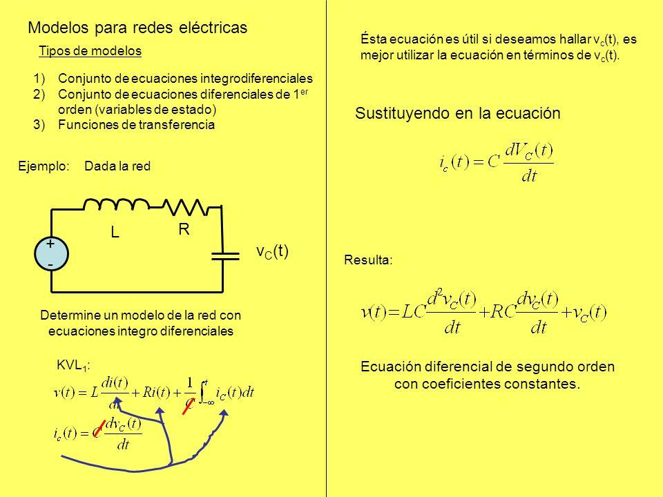 Modelos para redes eléctricas Tipos de modelos 1)Conjunto de ecuaciones integrodiferenciales 2)Conjunto de ecuaciones diferenciales de 1 er orden (variables de estado) 3)Funciones de transferencia KVL 1 : Ésta ecuación es útil si deseamos hallar v c (t), es mejor utilizar la ecuación en términos de v c (t).