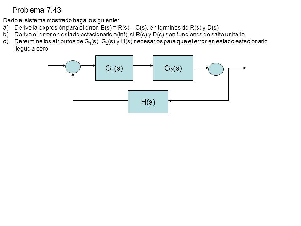 Problema 7.43 Dado el sistema mostrado haga lo siguiente: a)Derive la expresión para el error, E(s) = R(s) – C(s), en términos de R(s) y D(s) b)Derive el error en estado estacionario e(inf), si R(s) y D(s) son funciones de salto unitario c)Derermine los atributos de G 1 (s), G 2 (s) y H(s) necesarios para que el error en estado estacionario llegue a cero G 1 (s)G 2 (s) H(s)