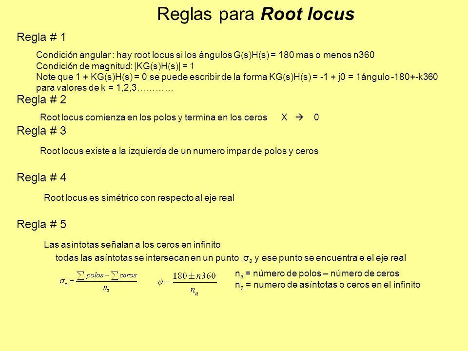 Reglas para Root locus Condición angular : hay root locus si los ángulos G(s)H(s) = 180 mas o menos n360 Condición de magnitud: |KG(s)H(s)| = 1 Note que 1 + KG(s)H(s) = 0 se puede escribir de la forma KG(s)H(s) = -1 + j0 = 1ángulo -180+-k360 para valores de k = 1,2,3………… Root locus comienza en los polos y termina en los ceros X 0 Root locus existe a la izquierda de un numero impar de polos y ceros Root locus es simétrico con respecto al eje real Regla # 1 Regla # 2 Regla # 3 Regla # 4 Regla # 5 Las asíntotas señalan a los ceros en infinito todas las asíntotas se intersecan en un punto,σ a y ese punto se encuentra e el eje real n a = número de polos – número de ceros n a = numero de asíntotas o ceros en el infinito
