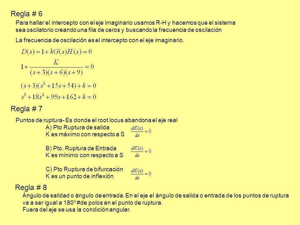 Regla # 6 Para hallar el intercepto con el eje imaginario usamos R-H y hacemos que el sistema sea oscilatorio creando una fila de ceros y buscando la frecuencia de oscilación La frecuencia de oscilación es el intercepto con el eje imaginario.