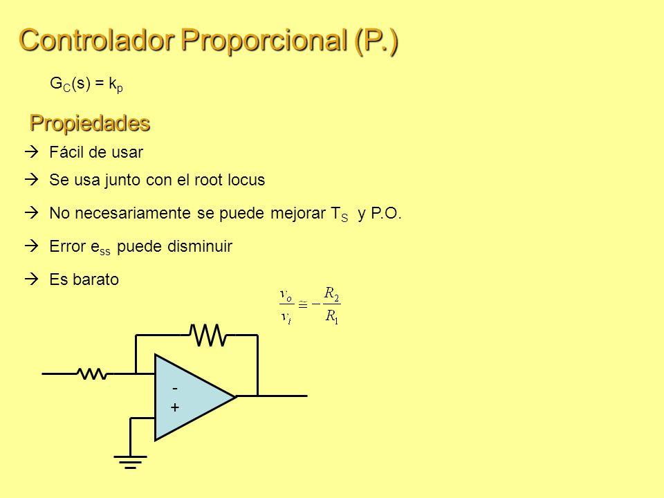 Controlador Proporcional (P.) G C (s) = k p Fácil de usar No necesariamente se puede mejorar T S y P.O.