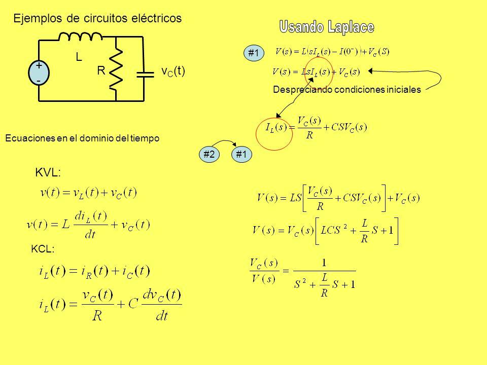 Ejemplos de circuitos eléctricos +-+- v C (t)R L KVL: KCL: #1#2#1 Despreciando condiciones iniciales Ecuaciones en el dominio del tiempo