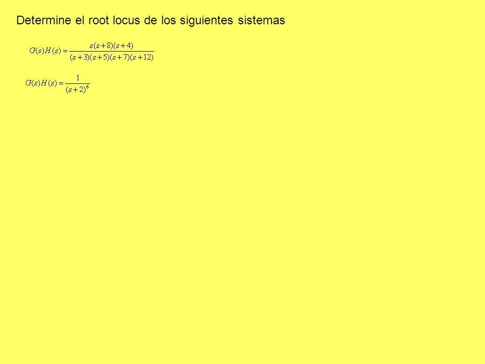 Determine el root locus de los siguientes sistemas